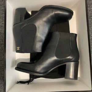 Chanel Black Glazed Calfskin Boots